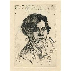 "Lovis Corinth Original Etching ""Frauenkopf"""