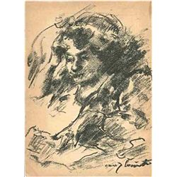 "Lovis Corinth Original Lithograph ""Weiblisher Studienkopf I"""