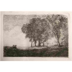 "Jean-Baptist Corot ""Paysage D'italie"" Original Etching"