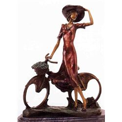 """The Bicycle Spring Time"" Bronze Sculpture Inspired - Icart"