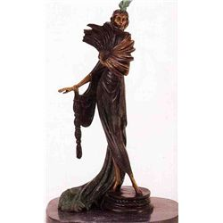 """Fan Dancer"" Bronze Sculpture Inspired - Icart"