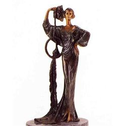 """Deco Girl With Peacock"" Bronze Sculpture Inspired - Icart"