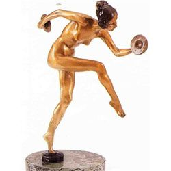 """Cymbal Dancer"" Bronze Sculpture Inspired - Icart"