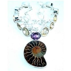 Ammonite, Amethyst & Citrine Necklace