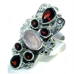 Silver and Garnet & Rose Quartz Ring