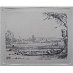 "Rembrandt ""Canal With Boat And Bridge"" Original Etching"