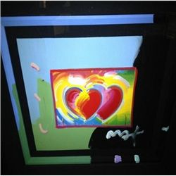 """Hearts"" Peter Max Original Mixed Media"