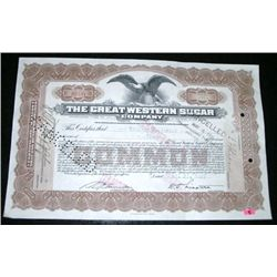 1927 EXTREMELY RARE 10 SHARES STOCK CERTIFICATE *THE GREAT WESTERN SUGAR COMPANY - NICE CERTIFICATE!