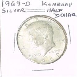 1969-D KENNEDY SILVER HALF DOLLAR *NICE SILVER COIN - PLEASE LOOK AT PICTURE TO DETERMINE GRADE*!!