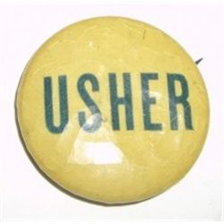 "VERY OLD VINTAGE *USHER* PIN WRITTEN ON BACK ""MADE FOR JOE HIZER PHILA. PA""!!!"