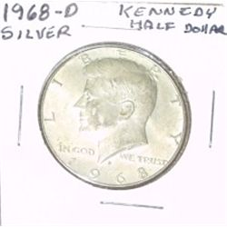 1968-D KENNEDY SILVER HALF DOLLAR *NICE SILVER COIN - PLEASE LOOK AT PICTURE TO DETERMINE GRADE*!!