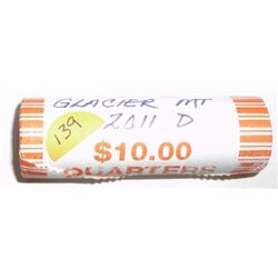 MINT $10.00 ROLL OF 2011-D NATIONAL PARK QUARTERS *RARE GLACIER PARK MINT HIGH GRADE QUARTERS*!!