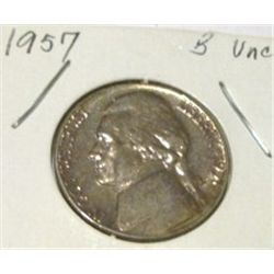 1957 JEFFERSON NICKEL *RARE BU UNC HIGH GRADE*!!