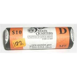 $10.00 MINT ROLL OF 2007-D STATE QUARTERS  MONTANA  *RARE ROLL FROM THE MINT NEVER OPENED*!!