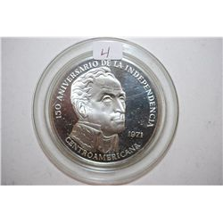 1971 Panama 20 Balboas Commemorative Sterling Round; 150th Anniversary Of Independence Of Central Am
