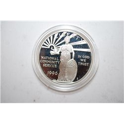 1996-S US National Community Service Commemorative $1 Silver Proof In Velvet Box With COA Included;