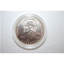 1993-P US Thomas Jefferson 250th Anniversary Commemorative Silver $1; EST. $35-45