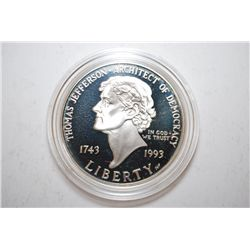 1993-P US Thomas Jefferson 250th Anniversary Commemorative Silver $1 Proof In Velvet Box With COA In