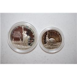 1986-S US Liberty Two-Coin Proof Set In Velvet Box; Ellis Island Commemorative $1 Silver Proof & Nat