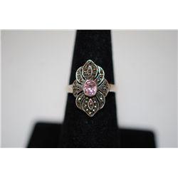 Sterling Silver Ring Size 6.5 With Small Pink Stone; .925 Silver; EST. $10-20