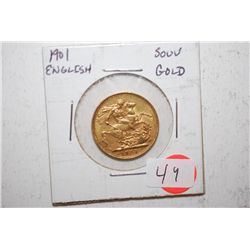 1901 Great Britain Foreign Souv Gold; EST. $400-450