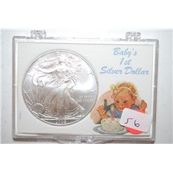 2009 Silver Eagle $1 In Baby's 1st Silver Dollar Holder; EST. $35-45