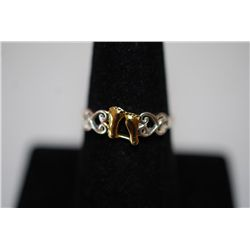 "Sterling Silver Ring Size 8 With Gold-Toned Baby Feet Inscribed With ""It Was Then That I Carried You"