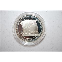 1987-S US Constitution 200th Anniversary Commemorative $1 Silver Proof In Velvet Box With COA Includ
