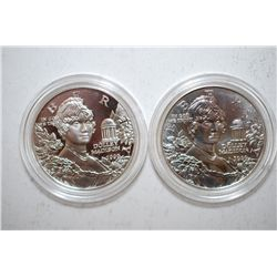 1999-P US Dolley Madison Commemorative Two-Coin Silver $1 Set In Velvet Box With COA Included; .900