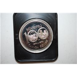 "1974 Canada $1 ""100th Anniversary Of Winnipeg"" Foreign Coin In Display Box; EST. $15-20"