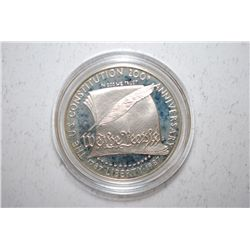 1987-S US Constitution 200th Anniversary Commemorative $1 In Velvet Box; .900 Silver .8594 Oz.; EST.