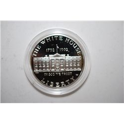 1992-W US White House 200th Anniversary Silver $1 Proof In Velvet Box With COA Included; 90% Silver