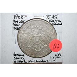 1908-F German States 5 Deutsches Mark Foreign Coin; Wurthenburg; XF45; .8037 ASW; EST. $75-100