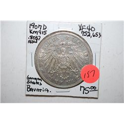 1907-D German States 5 Deutsche Mark Foreign Coin; Bavaria; XF40; .8037 ASW; EST. $75-100