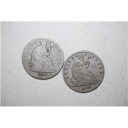Lot of 2 1876 Seated Liberty Half Dollars; EST. $75-100