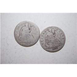 Lot of 2 Seated Liberty Half Dollars dated 1862 & 1877; EST. $75-100