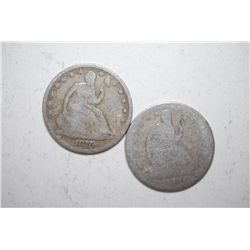 Lot of 2 Seated Liberty Half Dollars dated 1876 and unreadable; EST. $75-100