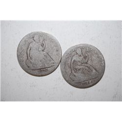 Lot of 2 Seated Liberty Half Dollars dated 1876 and 1855; EST. $75-100