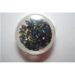 Lot of Approx. 50 Lab Simulated Sapphires various shapes and sizes; EST. $10-25