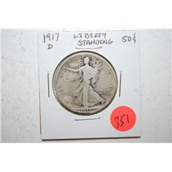 1917-D Walking Liberty Half Dollar; EST. $15-25