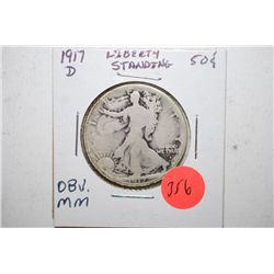 1917-D Walking Liberty Half Dollar; Mint Mark On Obv.; EST. $15-25