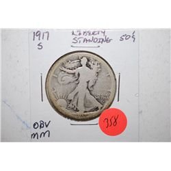 1917-S Standing Liberty Half Dollar; Mint Mark On Obv.; EST. $25-50