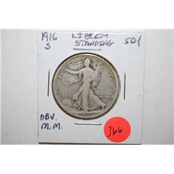 1916-S Walking Liberty Half Dollar; Mint Mark Obv.; EST. $100-150