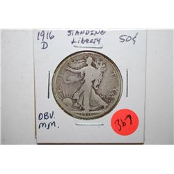 1916-D Standing Liberty Half Dollar; Mint Mark On Obv.; EST. $50-60