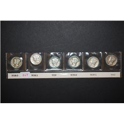 1938-D, 1938-S, 1939, 1939-D, 1939-S & 1940 Mercury Dime; Lot of 6; EST. $25-35