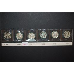 1936-D, 1936-S, 1937, 1937-D, 1937-S & 1938 Mercury Dime; Lot of 6; EST. $25-35