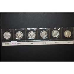 1940-D, 1940-S, 1941, 1941-D, 1941-S & 1942 Mercury Dime; Lot of 6; EST. $25-35