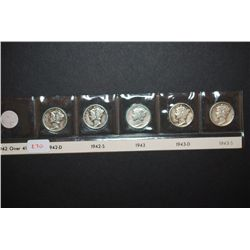 1942-D, 1942-S, 1943, 1943-D & 1943-S Mercury Dime; Lot of 5; EST. $20-30