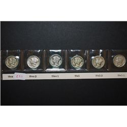 1944, 1944-D, 1944-S, 1945, 1945-D & 1945-S Mercury Dime; Lot of 6; EST. $25-35