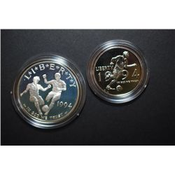 1994 US Special Edition World Cup Commemorative Collector's Two-Coin Set In Display Box With History